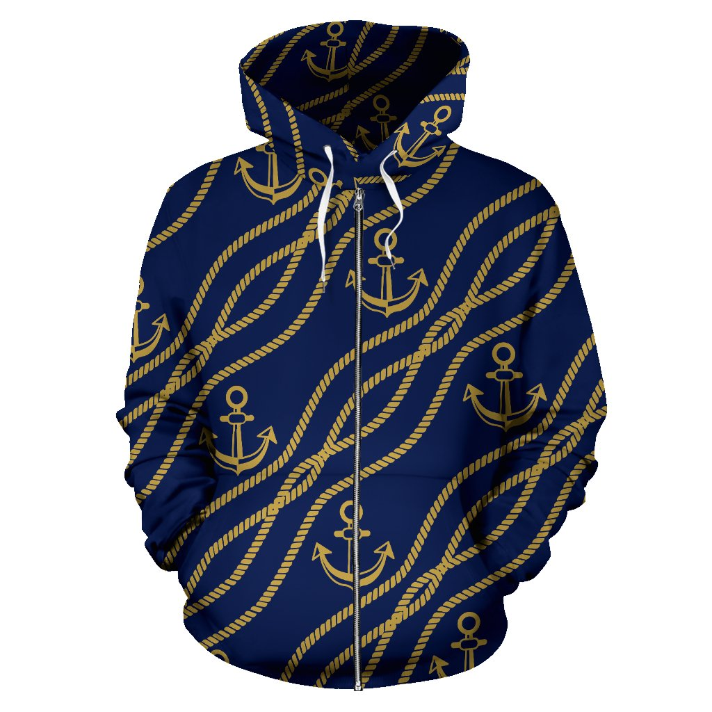Nautical Anchor Rope Pattern All Over Zip Up Hoodie