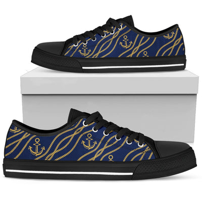 Nautical Anchor Rope Pattern Men Low Top Shoes