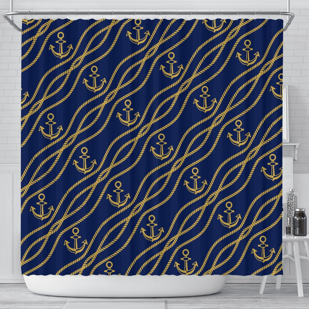 Nautical Anchor Rope Pattern Shower Curtain