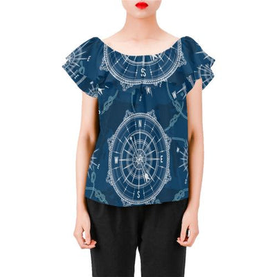 Nautical Compass Print Off Shoulder Ruffle Blouse