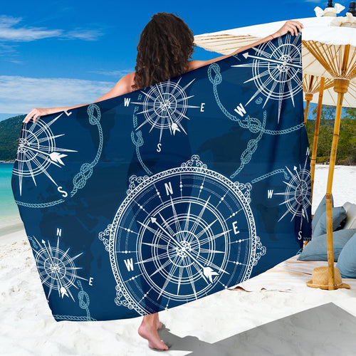 Nautical Compass Print Sarong Pareo Wrap
