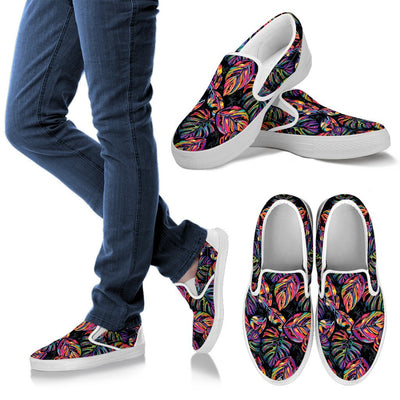 Neon Color Tropical Palm Leaves Men Canvas Slip On Shoes