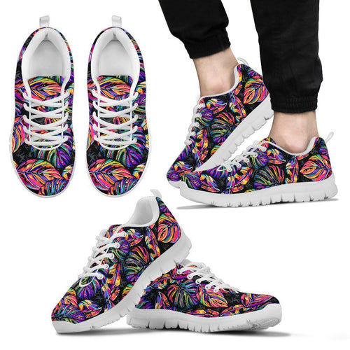 Neon Color Tropical Palm Leaves Men Sneakers