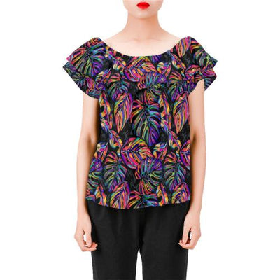 Neon Color Tropical Palm Leaves Off Shoulder Ruffle Blouse