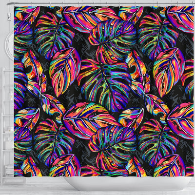 Neon Color Tropical Palm Leaves Shower Curtain