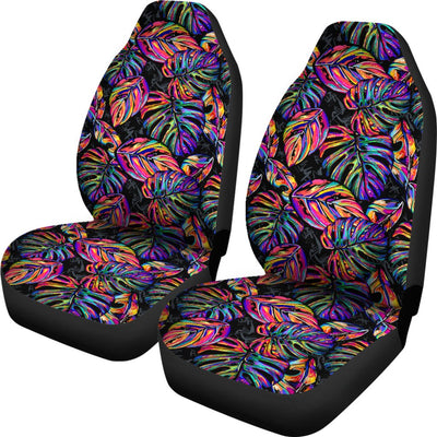 Neon Color Tropical Palm Leaves Universal Fit Car Seat Covers
