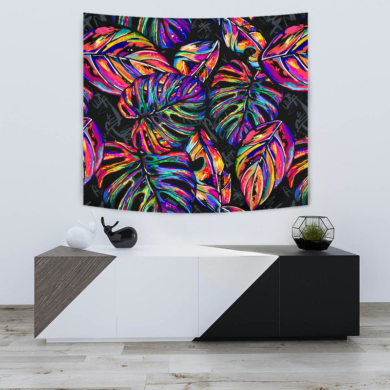 Neon Color Tropical Palm Leaves Wall Tapestry