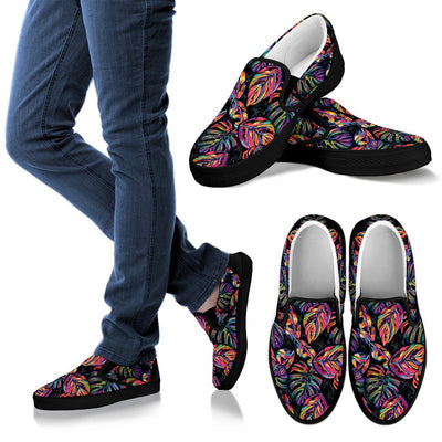 Neon Color Tropical Palm Leaves Women Canvas Slip On Shoes