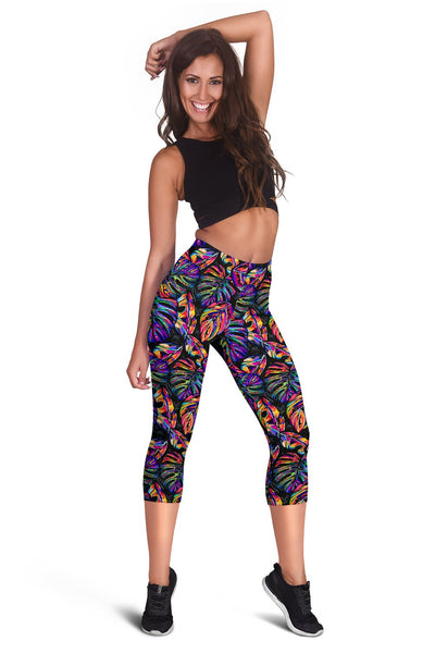 Neon Color Tropical Palm Leaves Women Capris
