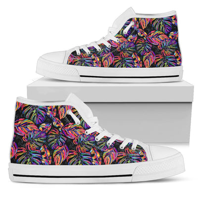 Neon Color Tropical Palm Leaves Women High Top Canvas Shoes