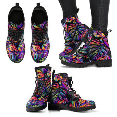Neon Color Tropical Palm Leaves Women & Men Leather Boots