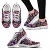 Neon Color Tropical Palm Leaves Women Sneakers