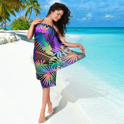 Neon Flower Tropical Palm Leaves Beach Sarong Pareo Wrap