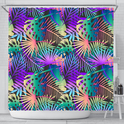 Neon Flower Tropical Palm Leaves Shower Curtain