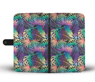 Neon Flower Tropical Palm Leaves Wallet Phone Case