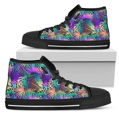Neon Flower Tropical Palm Leaves Women High Top Canvas Shoes