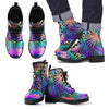 Neon Flower Tropical Palm Leaves Women & Men Leather Boots