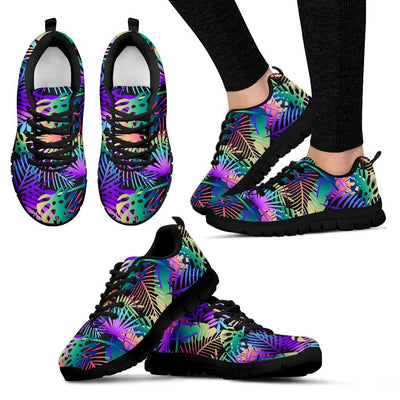 Neon Flower Tropical Palm Leaves Women Sneakers