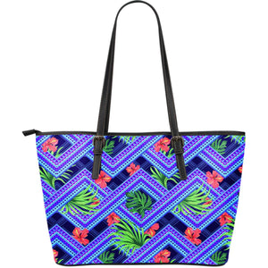 Neon Hawaiian Flower hibiscus Large Leather Tote Bag