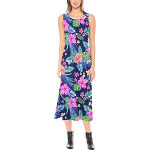 Neon Hibiscus Pattern Print Design HB016 Sleeveless Open Fork Long Dress