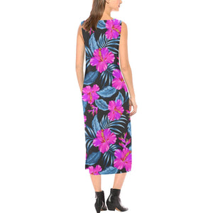 Neon Pink Hibiscus Pattern Print Design HB015 Sleeveless Open Fork Long Dress