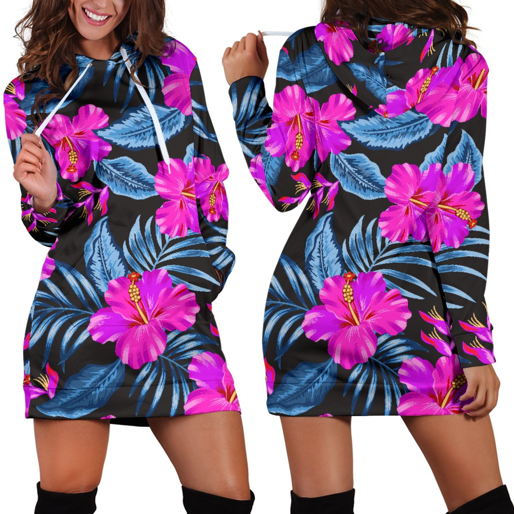 Neon Pink Hibiscus Pattern Print Design HB015 Women Hoodie Dress