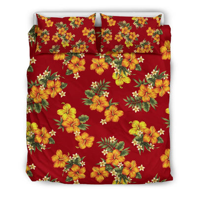 Orange Hibiscus Pattern Print Design HB026 Duvet Cover Bedding Set-JORJUNE.COM