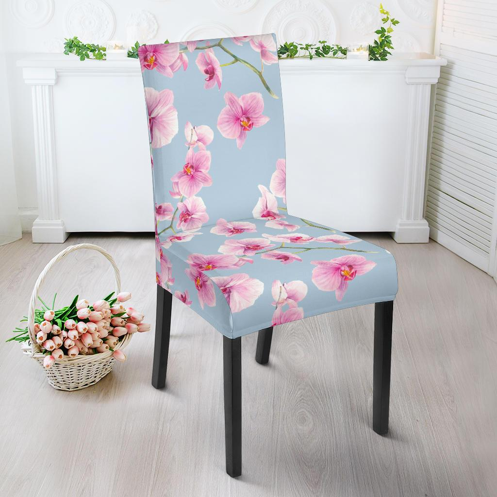 Orchid Pink Pattern Print Design OR01 Dining Chair Slipcover-JORJUNE.COM