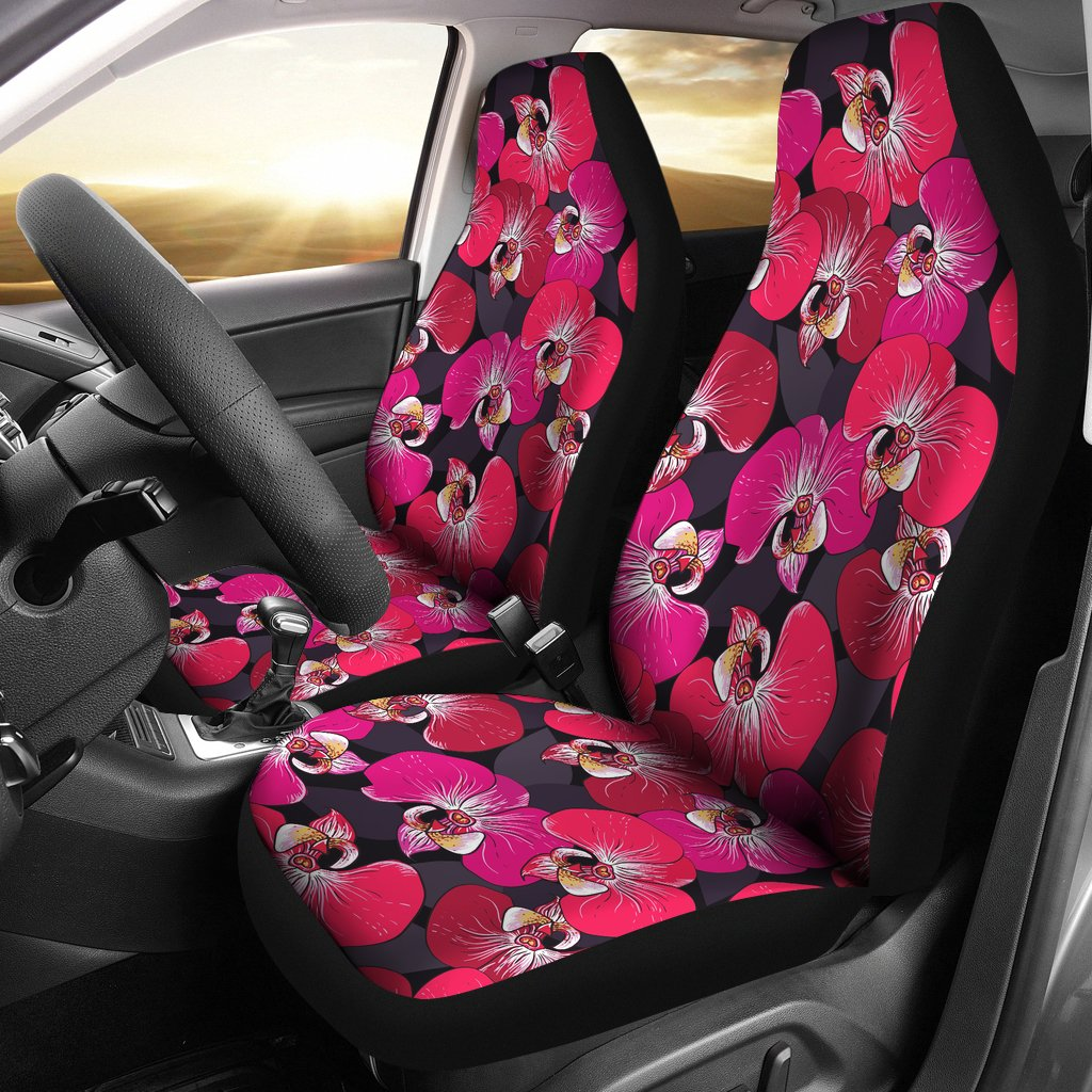 Orchid Red Pattern Print Design OR05 Universal Fit Car Seat Covers-JorJune