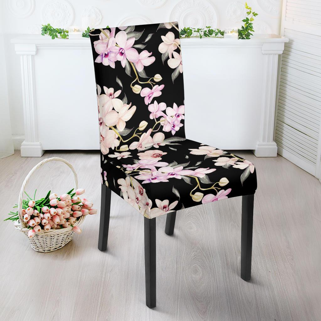 Orchid White Pattern Print Design OR03 Dining Chair Slipcover-JORJUNE.COM