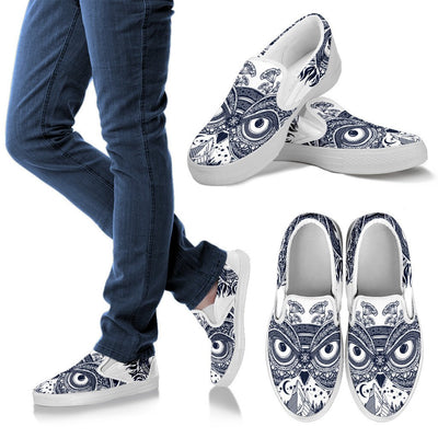 Owl Ornamental Women Canvas Slip On Shoes
