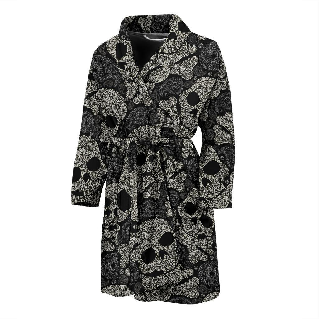 Paisley Skull Pattern Print Design A01 Men Bathrobe-JORJUNE.COM