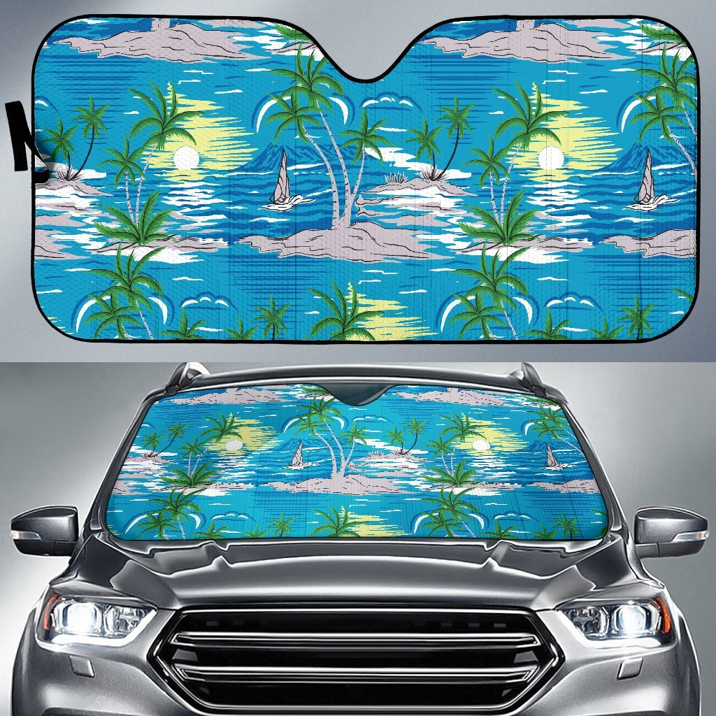 Palm Tree Beach Car Sun Shade-JorJune
