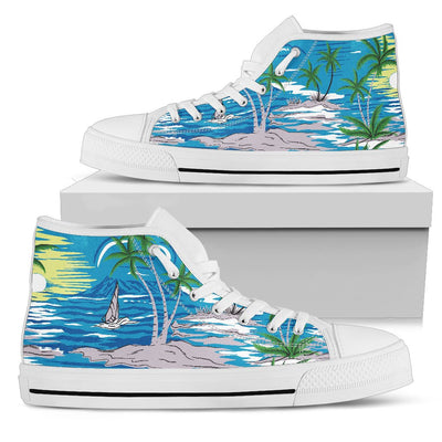Palm Tree Beach Men High Top Shoes
