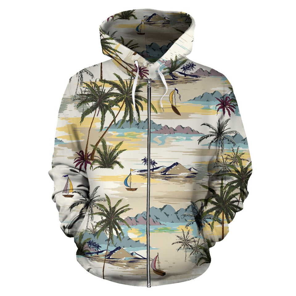 Palm Tree Beach Print All Over Zip Up Hoodie