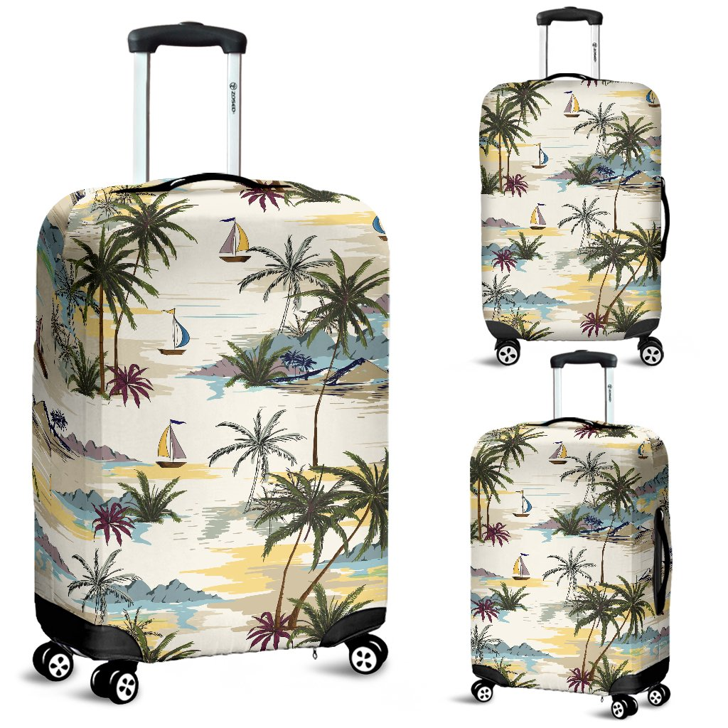 Palm Tree Beach Print Luggage Cover Protector