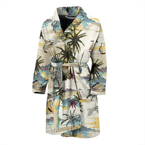 Palm Tree Beach Print Men Bath Robe