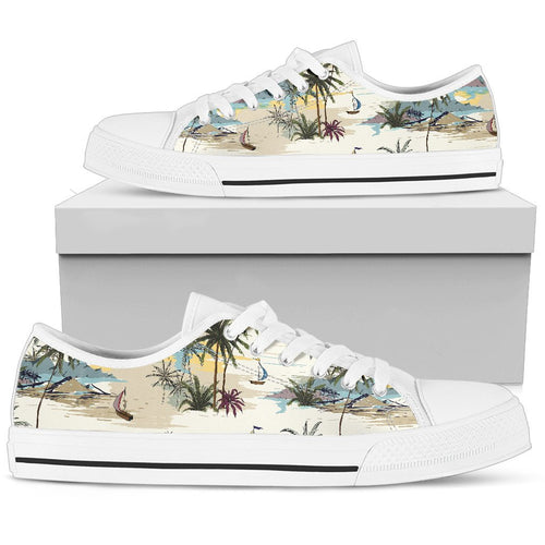 Palm Tree Beach Print Women Low Top Shoes