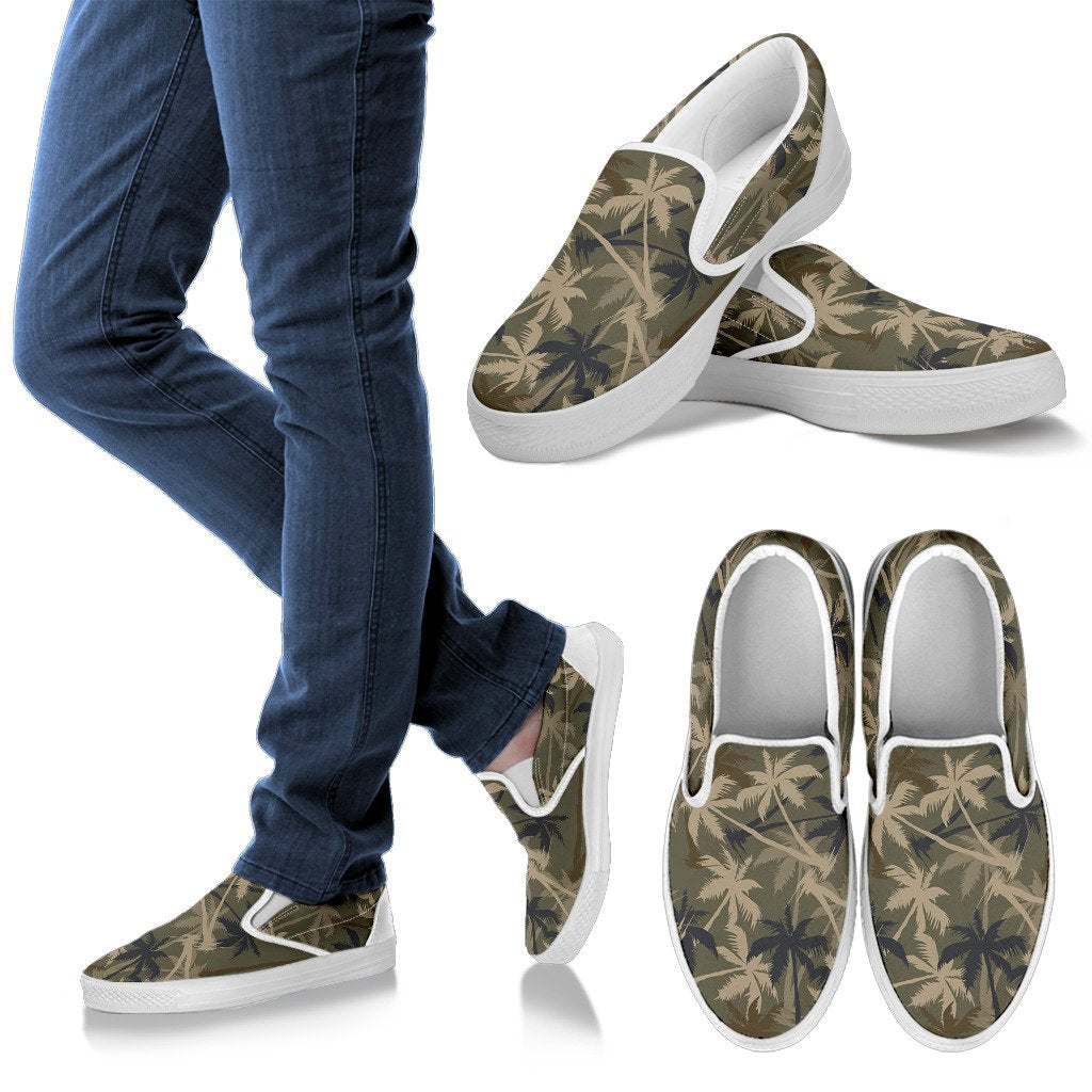 Palm Tree Camouflage Men Slip On Shoes
