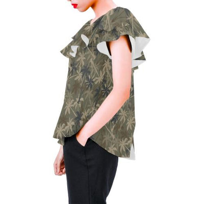 Palm Tree camouflage Off Shoulder Ruffle Blouse
