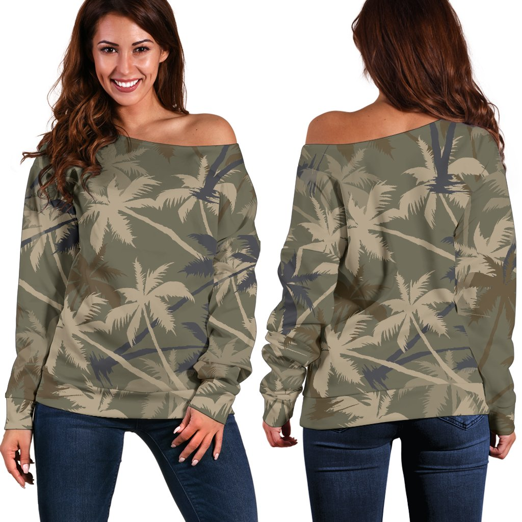 Palm Tree Camouflage Off Shoulder Sweatshirt