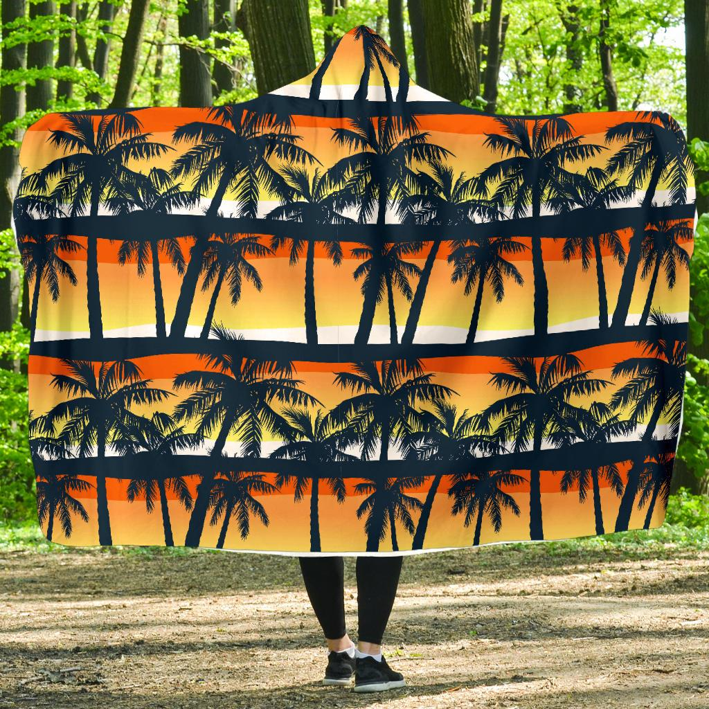Palm Tree Pattern Print Design PT011 Hooded Blanket-JORJUNE.COM