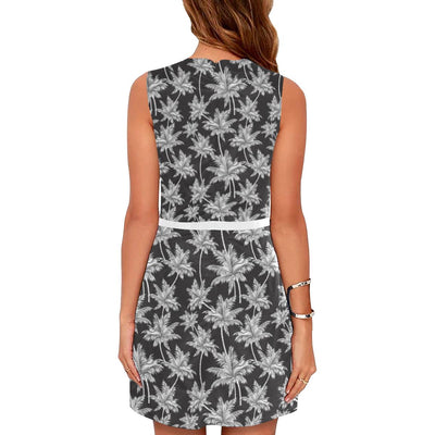 Palm Tree Pattern Print Design PT03 Sleeveless Mini Dress-JorJune