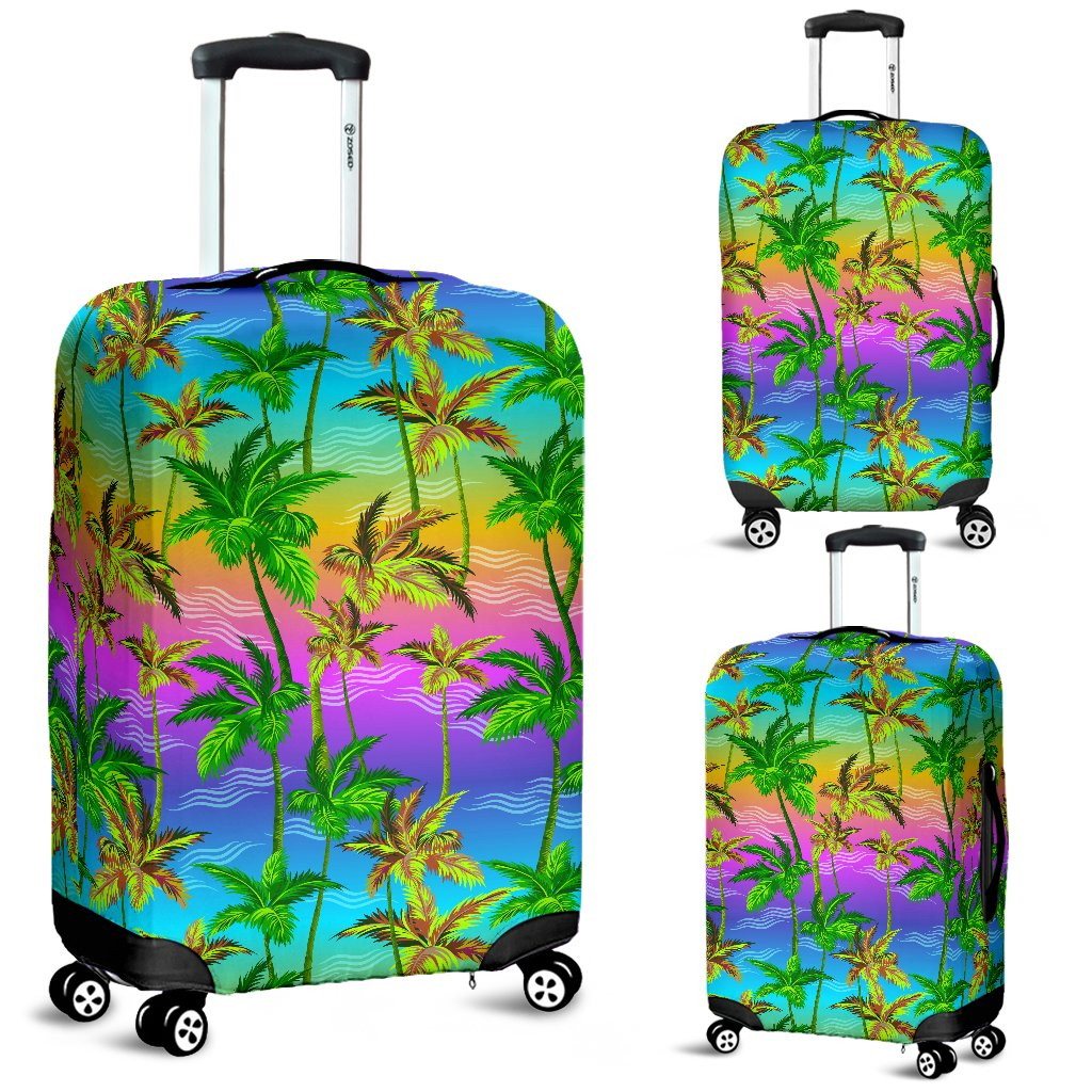 Palm Tree Rainbow Pattern Luggage Cover Protector