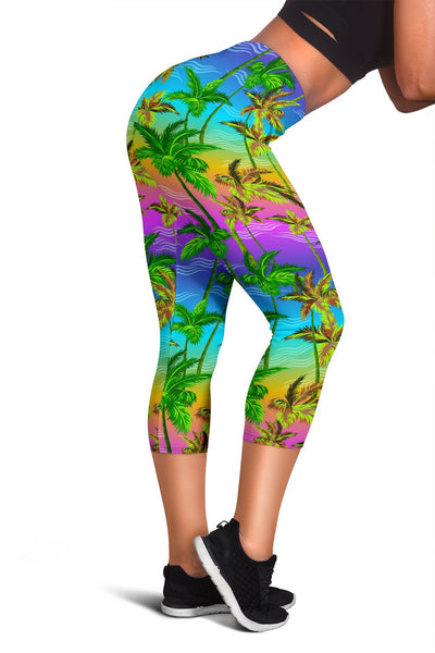 Palm Tree Rainbow Pattern Women Capris