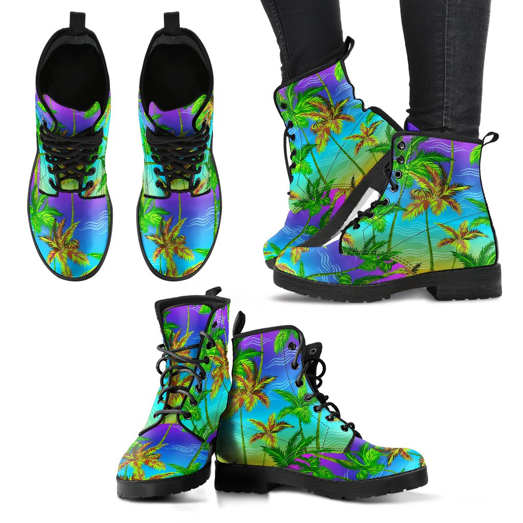 Palm Tree Rainbow Pattern Women Leather Boots