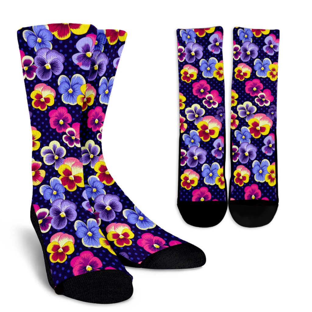 Pansy Pattern Print Design PS04 Crew Socks-JORJUNE.COM