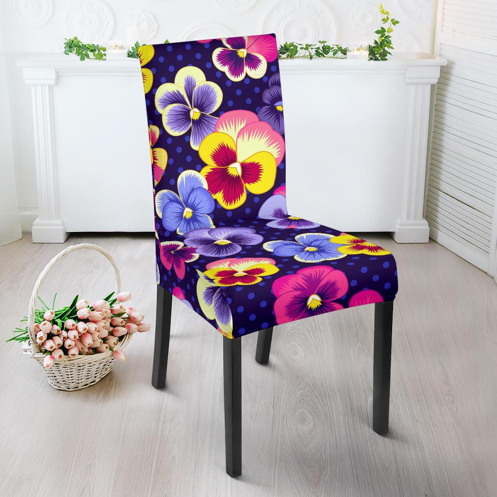 Pansy Pattern Print Design PS04 Dining Chair Slipcover-JORJUNE.COM