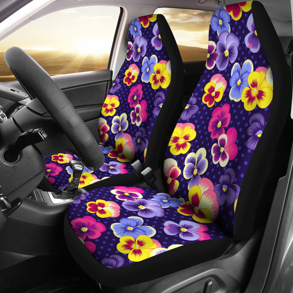 Pansy Pattern Print Design PS04 Universal Fit Car Seat Covers-JorJune