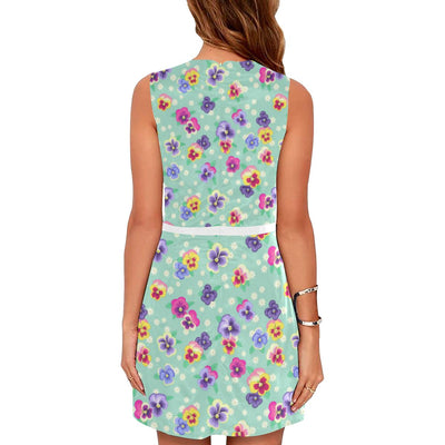 Pansy Pattern Print Design PS08 Sleeveless Mini Dress-JorJune